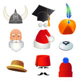 Set of cartoon top hats, different professions and nations. Vector Stock Images