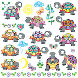Set of cartoon tortoise. Cartoon set of decorative tortoise for babies and little kids . Vector isolated on white royalty free illustration