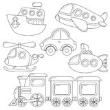 Set of cartoon transport icon. Car, submarine, ship, plane, train, helicopter. Black and white illustration for coloring book Royalty Free Stock Photography