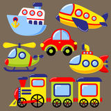 Set of cartoon transport icon. Car, submarine, ship, plane, train, helicopter Stock Photography