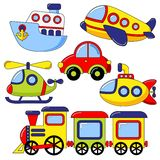 Set of cartoon transport icon. Car, submarine, ship, plane, train, helicopter Royalty Free Stock Images