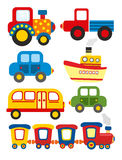 Set of cartoon transport royalty free illustration