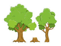 Set of cartoon tree and stump illustrations isolated on w. Hite background vector illustration