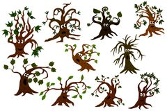 Set of cartoon tree. A set of cartoon trees that express different emotions Stock Photography