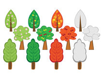 Set of cartoon trees Stock Photo