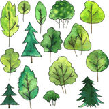 Set of cartoon trees drawing by watercolor Royalty Free Stock Photo