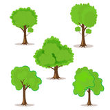 Set of cartoon trees hand-drawn for your design or project. Isolated on white  Royalty Free Stock Image