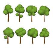 Set of cartoon trees on white background stock illustration
