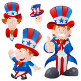 Set of Cartoon Uncle Sam. Conceptual Drawing Art of Happy Patriotic Cartoon Uncle Sam Portraits Expressions Royalty Free Stock Image