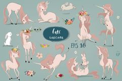 Set with Cartoon Unicorns and hare. Cute Cartoon Unicorns and hare. Vector collection Stock Image