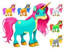Set of cartoon unicorns Stock Photos