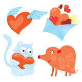 Set of cartoon valentines day romantic icons . Red flying heart, love envelope, blue kitten and heart-shaped pig. Royalty Free Stock Photo