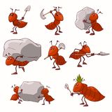 Set of cartoon vector ants stock image
