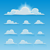 Set of cartoon vector clouds Stock Photography