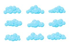 Set of cartoon vector clouds. Illustration. stock illustration