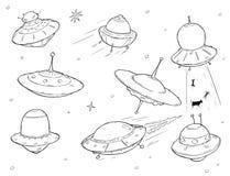 Set of Cartoon Alien UFO Space Ships vector illustration