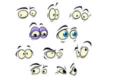 Set of cartoon vector eyes. Showing a variety of expressions and emotions, vector illustration on white royalty free illustration