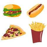 Set of cartoon vector food icons. Fast food. Set of cartoon vector food icons. Hamburger, sweet potato fries, burger with, hot dog, pizza Royalty Free Stock Images