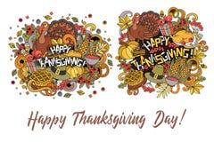 Set of cartoon vector hand drawn Doodle Thanksgiving illustration. vector illustration