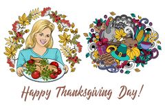 Set of cartoon vector hand drawn Doodle Thanksgiving illustration. royalty free illustration