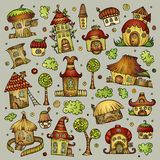 Set of cartoon vector houses Stock Image