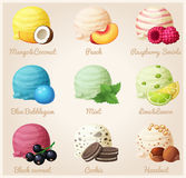 Set of cartoon vector icons. Ice cream scoops with different fruit and berry flavors Royalty Free Stock Photo