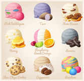 Set of cartoon vector icons. Ice cream scoops with different fruit and berry flavors. Pink Bubblegum, Taro, Rum Raisin. Honey, Licorice, Chic Chop Cookie royalty free illustration
