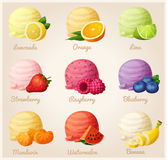 Set of cartoon vector icons. Ice cream scoops with different fruit flavors Royalty Free Stock Photography