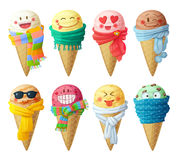 Set of cartoon vector icons isolated on white background. Ice cream scoops characters Royalty Free Stock Photo