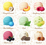 Set of cartoon vector icons isolated on white background. Ice cream scoops with different fruit and berry flavors Royalty Free Stock Photos