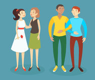 Set of cartoon vector illustrations of happy homosexual men and women couples. Caucasian and asian women and latino and caucasian men royalty free illustration
