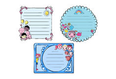 Set of Cartoon Vector Memo, Cards, Notes, Stickers, Labels, Tags Stock Photos