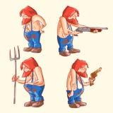 Set of cartoon vector rednecks Stock Photo