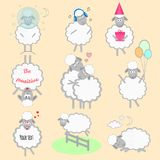 Set of cartoon vector sheeps. In different positions and emotions Royalty Free Stock Photos