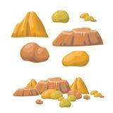 Set of cartoon vector stones and minerals Stock Photo