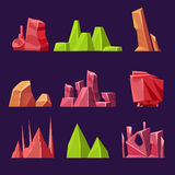 Set of Cartoon Vector Stones and Minerals for Stock Images