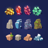 Set of Cartoon Vector Stones and Minerals Royalty Free Stock Photo