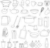 Set of cartoon vector tableware. Set of cartoon tableware. Vector cartoon royalty free illustration