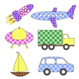 Set of cartoon vector transport stickers. Set of cute cartoon vector colorful transport stickers Stock Images