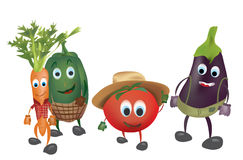 Set of  Cartoon Vegetables with Clothes Royalty Free Stock Photo