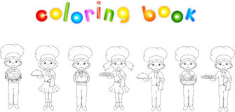 Set of cartoon waiter, cook and chef. Coloring book for kids Royalty Free Stock Photo