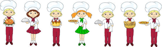 Set of cartoon waiter, cook and chef Stock Images