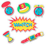 Set of cartoon watch patch badges. Vector illustration Royalty Free Stock Images