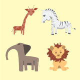 Set of cartoon wild African animals Stock Photo
