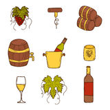 Set of cartoon wine icons in hand drawn style Royalty Free Stock Image