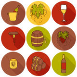 Set of cartoon wine icons in hand drawn style Stock Photography