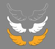 Set cartoon wings, sketch. Vector design elements isolated on dark background. stock illustration
