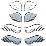 Set of cartoon wings Stock Photos