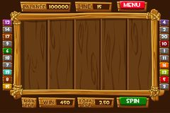 Set Cartoon wood assets, Interface and buttons For Ui Game SLOTS. Vector set Cartoon wood assets, Interface and buttons For Ui Game SLOTS stock illustration