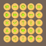 Set of Cartoon wood buttons with web icons,. Isolated vector elements. Gui elements, vector isolated games assets.menu set for mobile games.vector GUI elements Royalty Free Stock Photos